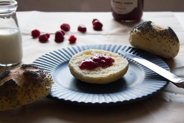 Poppy buns with raspberry jam ... perfect match!
